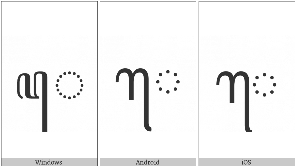Javanese Vowel Sign Taling on various operating systems