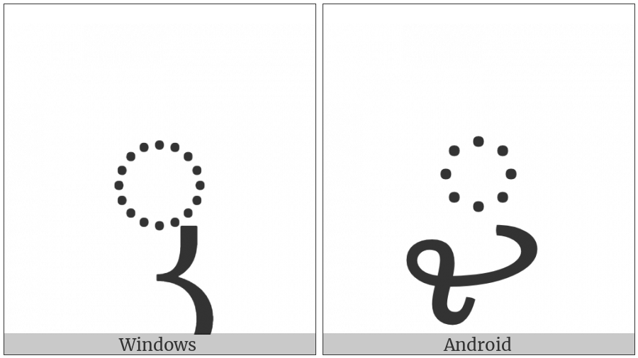 Javanese Consonant Sign Keret on various operating systems