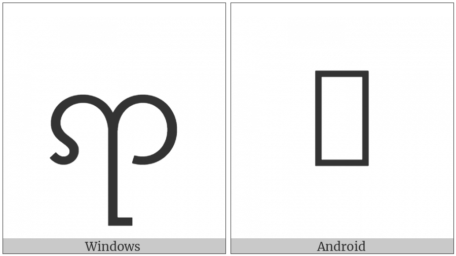Myanmar Letter Tai Laing Nya on various operating systems