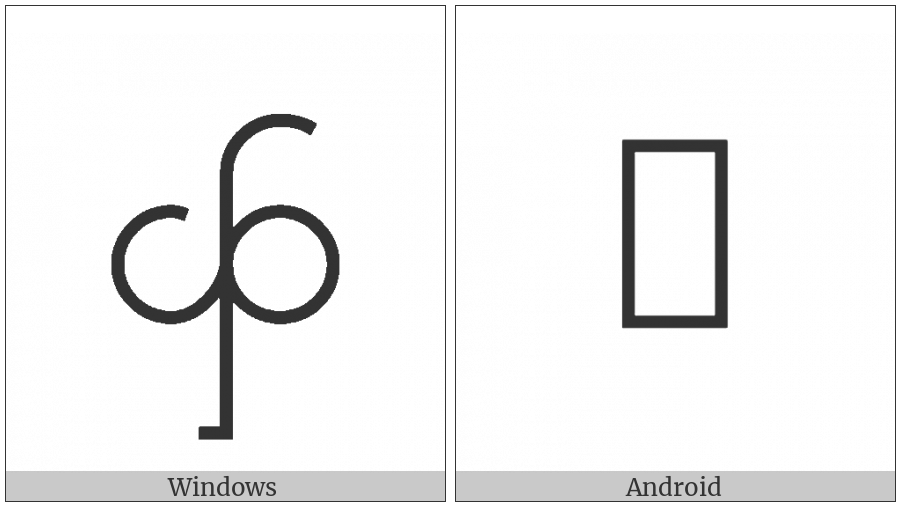 Myanmar Letter Tai Laing Fa on various operating systems
