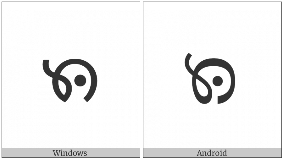 Myanmar Letter Tai Laing Nna on various operating systems