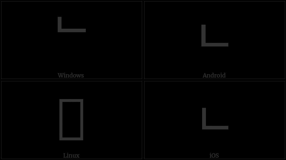 Hangul Choseong Nieun on various operating systems
