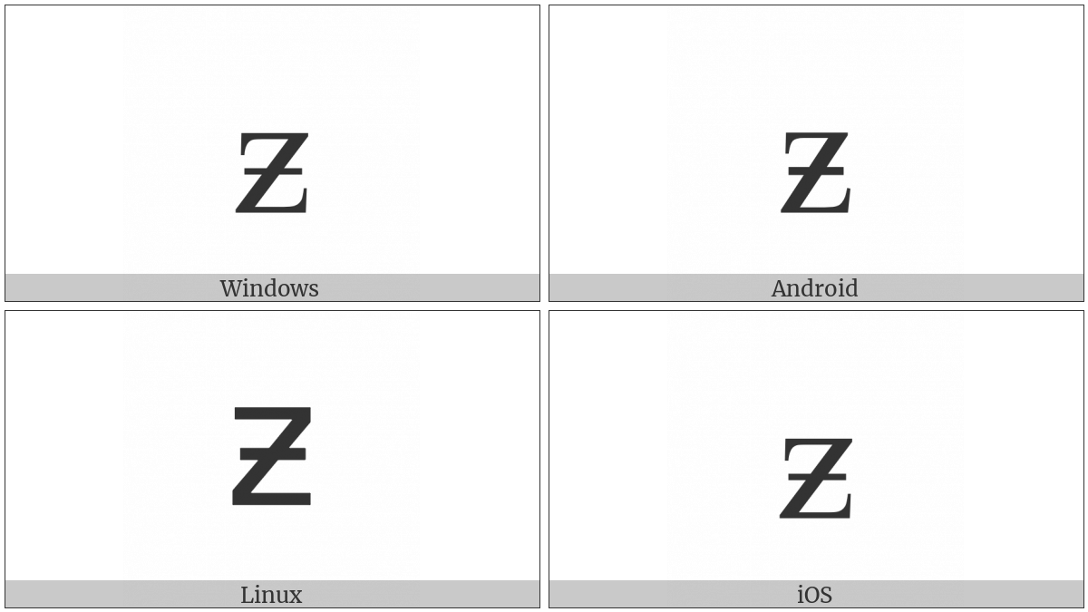 Latin Small Letter Z With Stroke on various operating systems