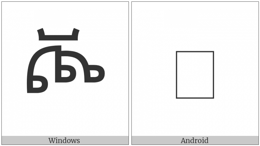 Ethiopic Syllable Cchho on various operating systems