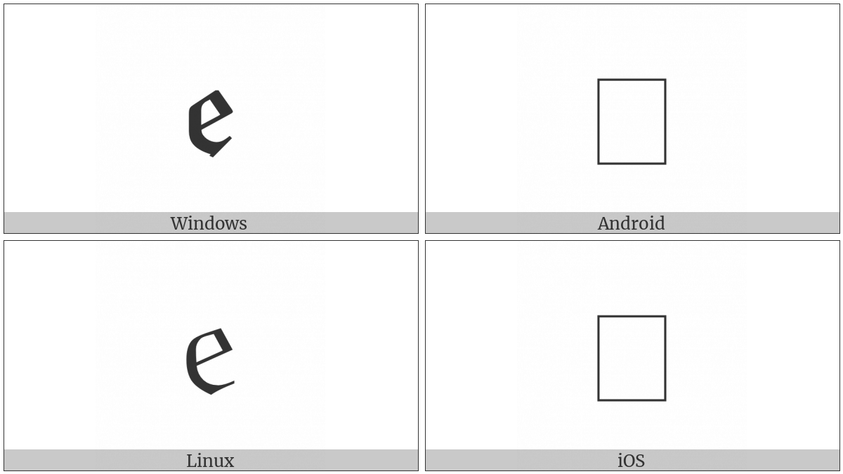 Latin Small Letter Blackletter E on various operating systems