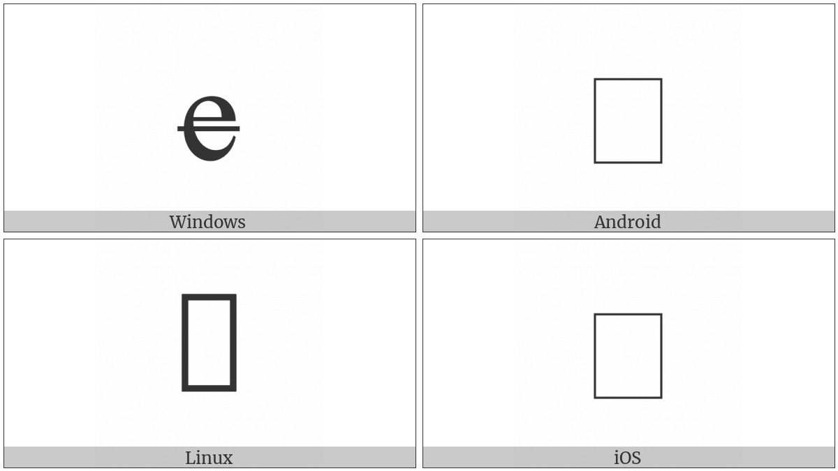 Latin Small Letter Barred E on various operating systems