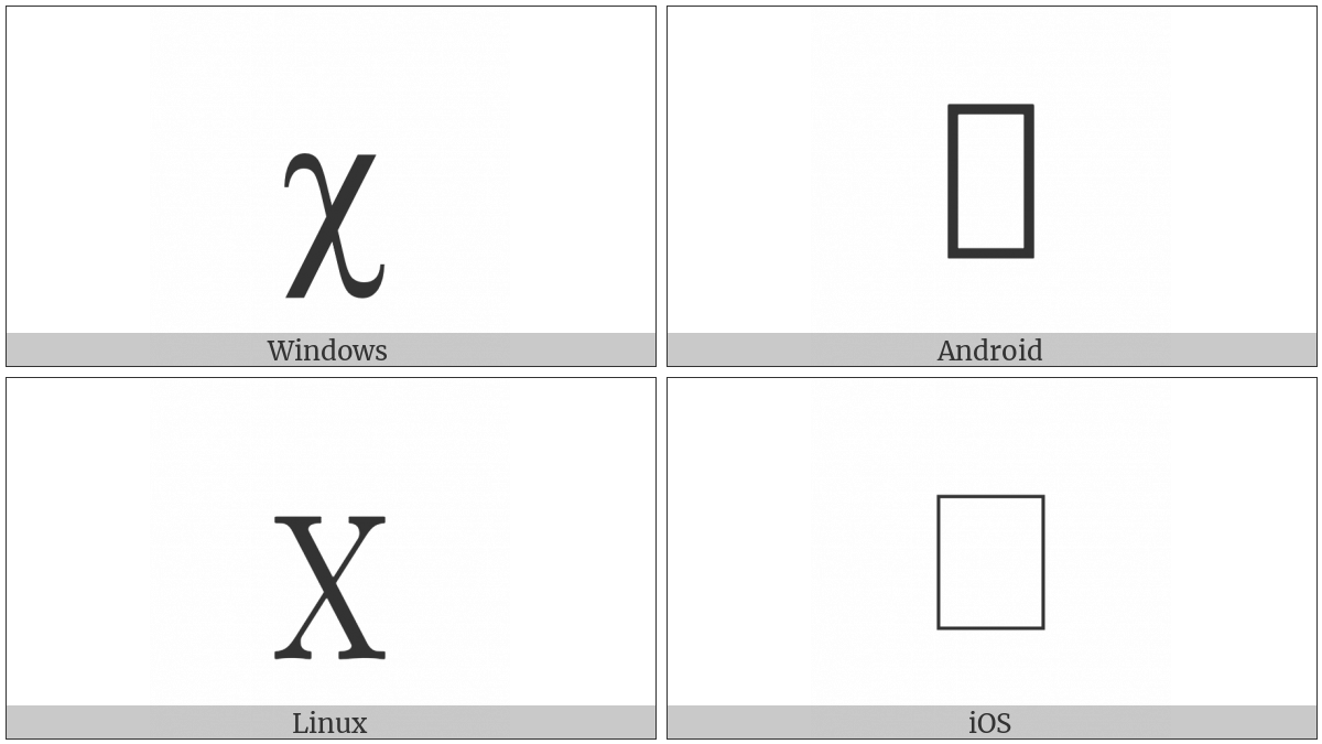 Latin Small Letter Chi on various operating systems