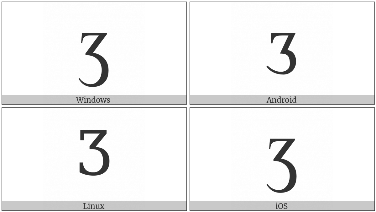Latin Capital Letter Ezh on various operating systems