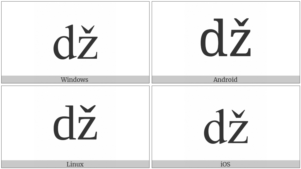 Latin Small Letter Dz With Caron on various operating systems