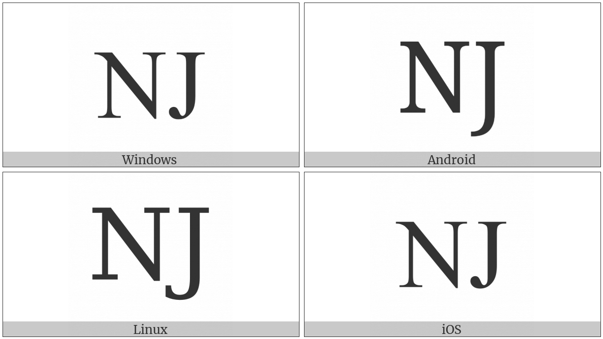 Latin Capital Letter Nj on various operating systems