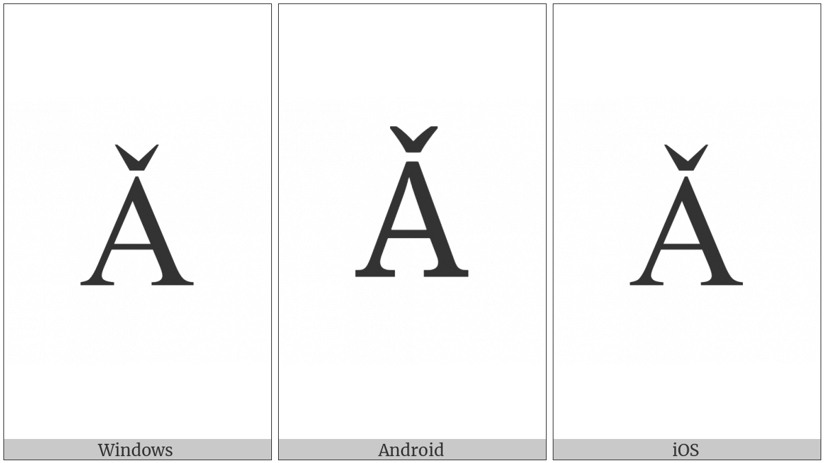 LATIN CAPITAL LETTER A WITH CARON utf-8 character