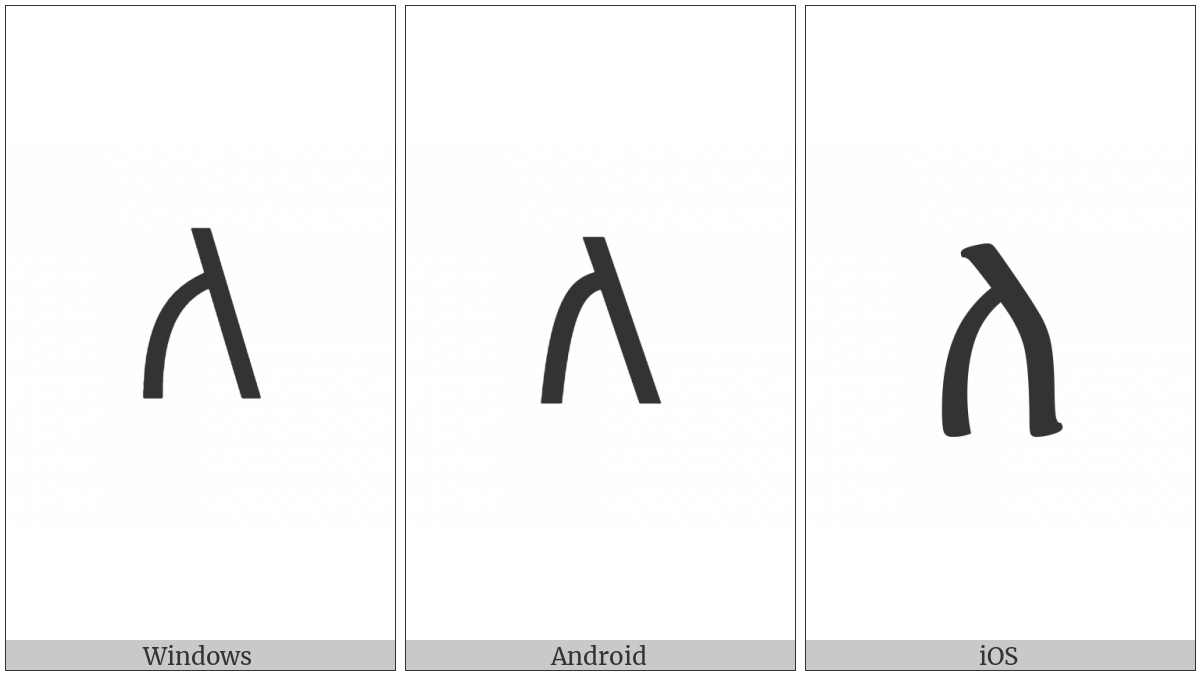 Ethiopic Syllable La on various operating systems