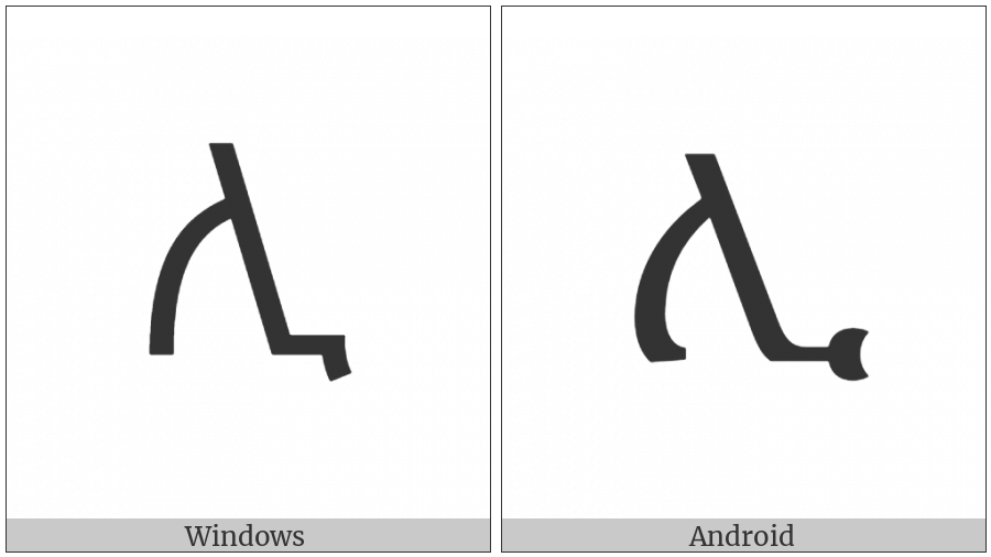 Ethiopic Syllable Li on various operating systems
