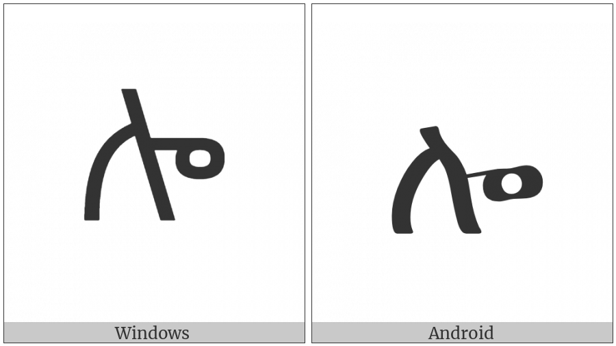Ethiopic Syllable Lo on various operating systems