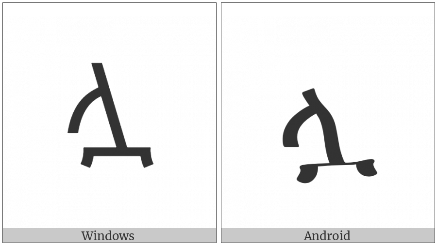 Ethiopic Syllable Lwa on various operating systems