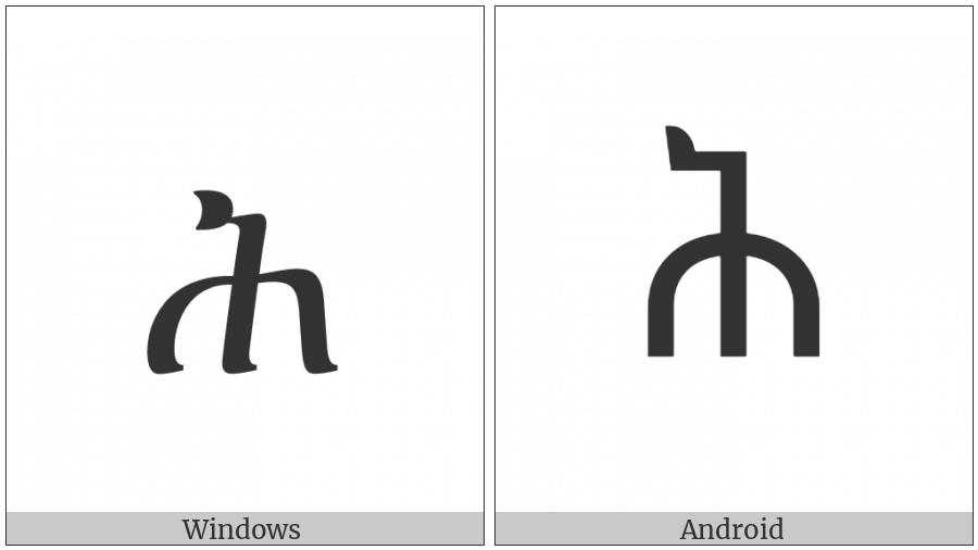 Ethiopic Syllable Hhe on various operating systems
