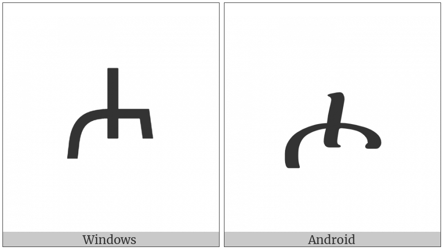 Ethiopic Syllable Hho on various operating systems
