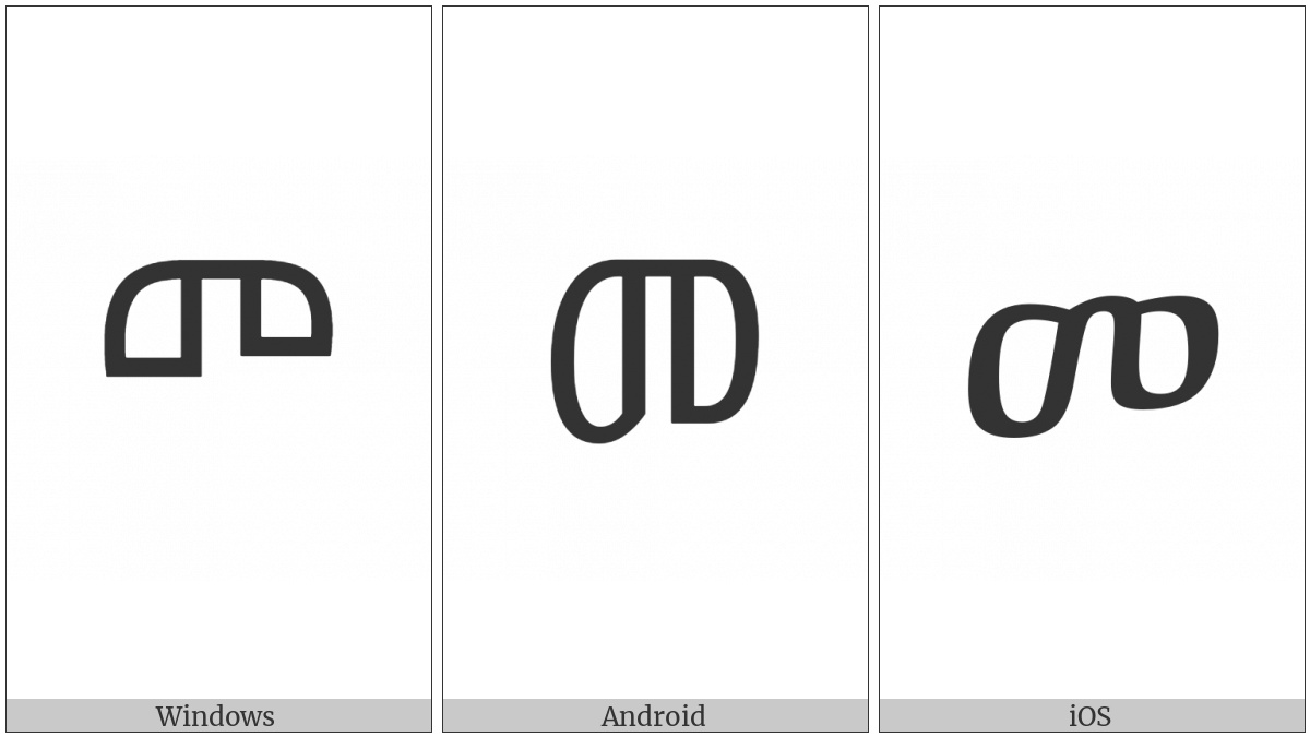 Ethiopic Syllable Ma on various operating systems