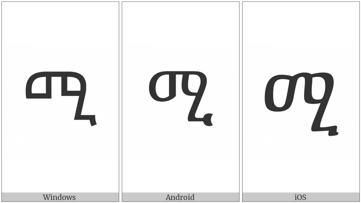 Ethiopic Syllable Mi on various operating systems