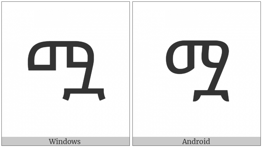 Ethiopic Syllable Mwa on various operating systems