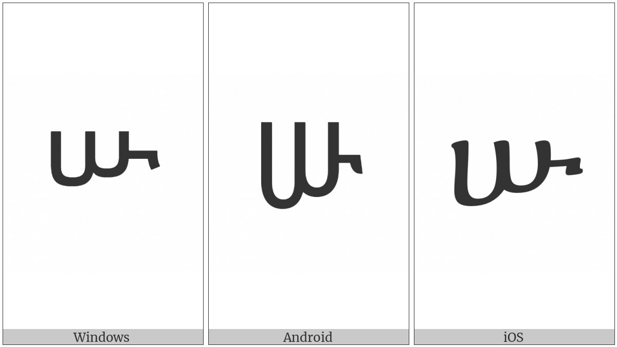 Ethiopic Syllable Szu on various operating systems