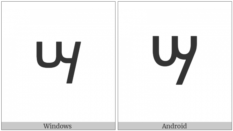Ethiopic Syllable Szaa on various operating systems