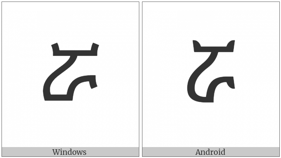 Ethiopic Syllable Rwa on various operating systems
