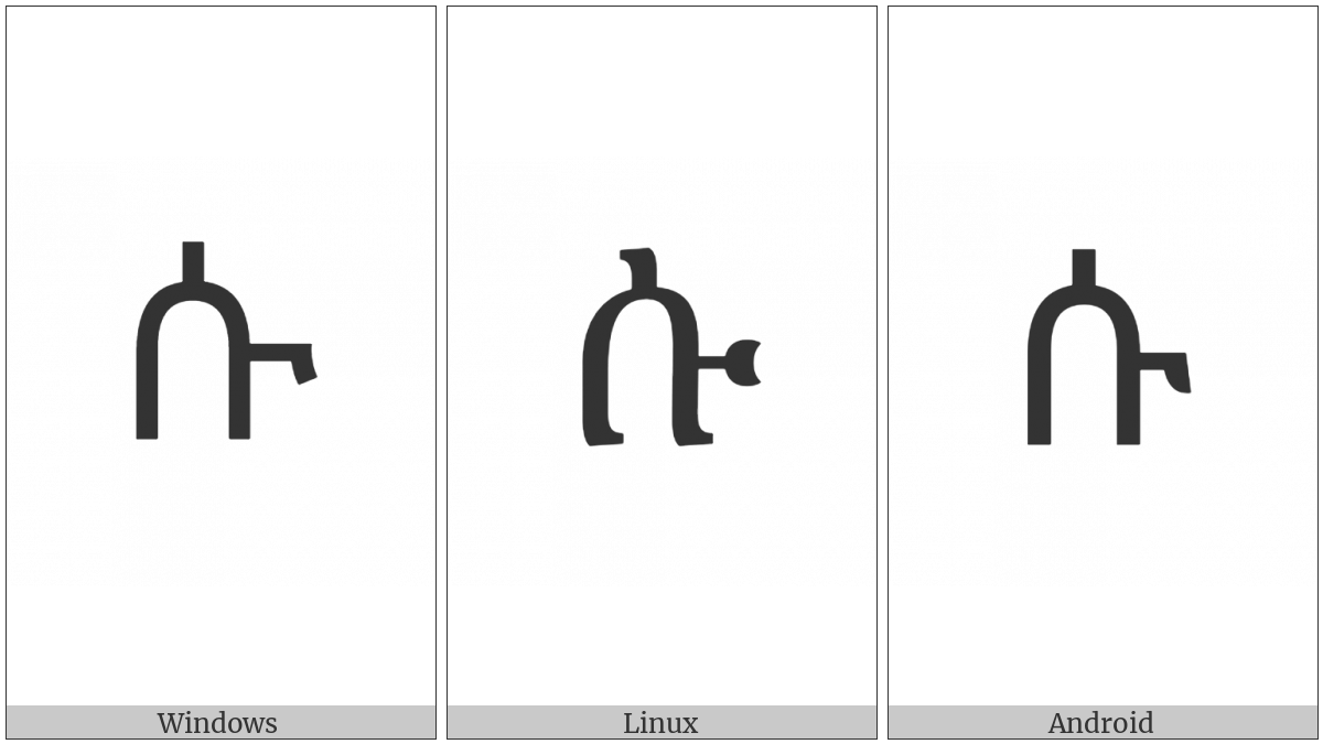 Ethiopic Syllable Su on various operating systems