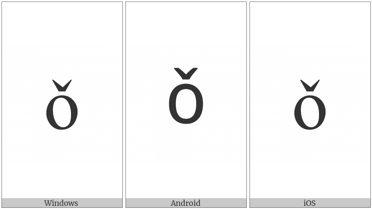 Latin Small Letter O With Caron on various operating systems