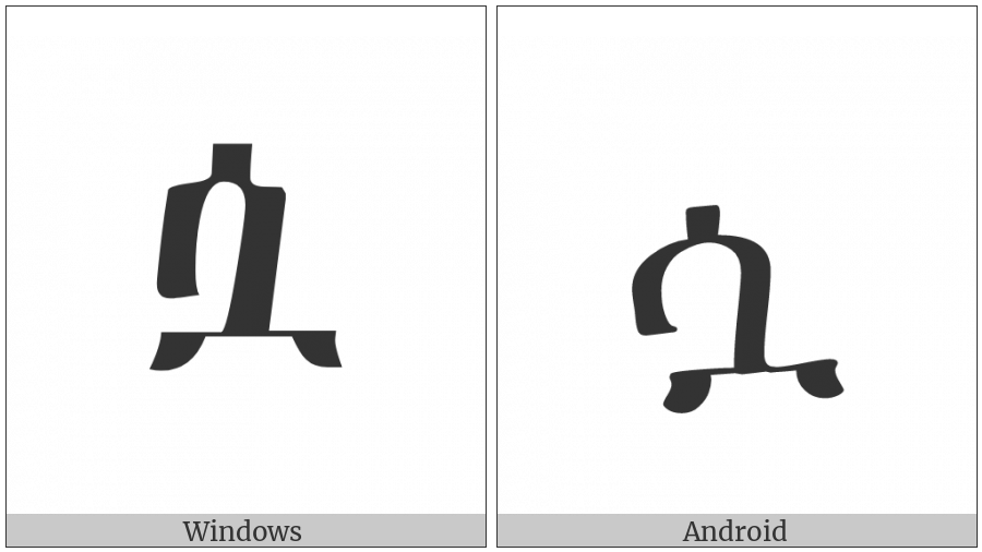 Ethiopic Syllable Swa on various operating systems