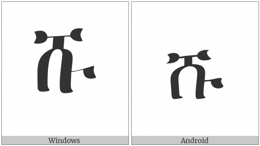 Ethiopic Syllable Shu on various operating systems