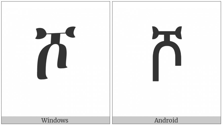 Ethiopic Syllable Sho on various operating systems