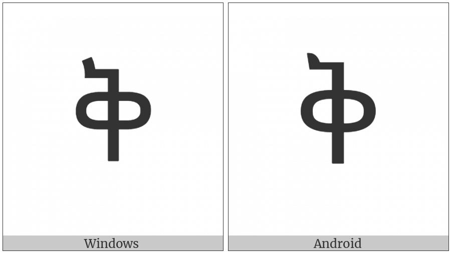 Ethiopic Syllable Qe on various operating systems