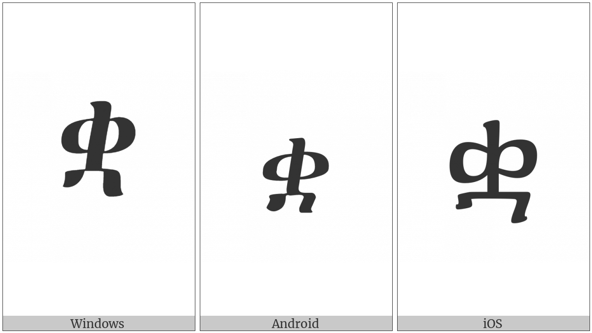 Ethiopic Syllable Qwaa on various operating systems