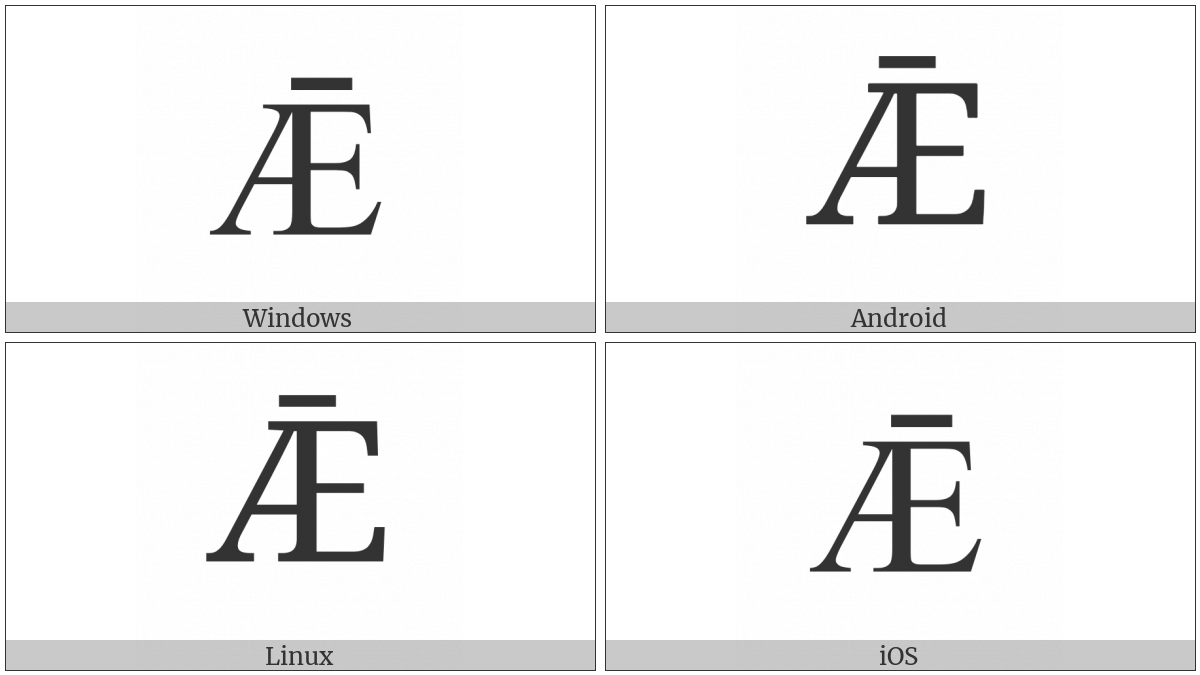Latin Capital Letter Ae With Macron on various operating systems