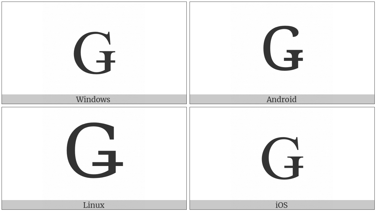 Latin Capital Letter G With Stroke on various operating systems