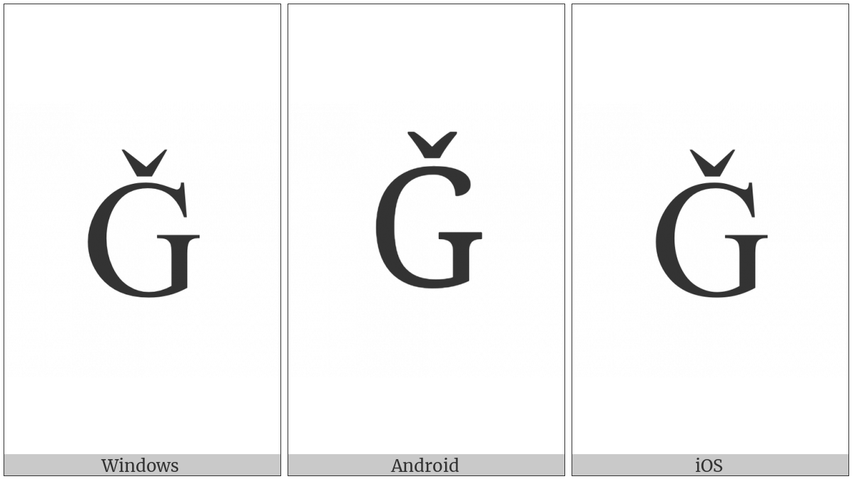 Latin Capital Letter G With Caron on various operating systems