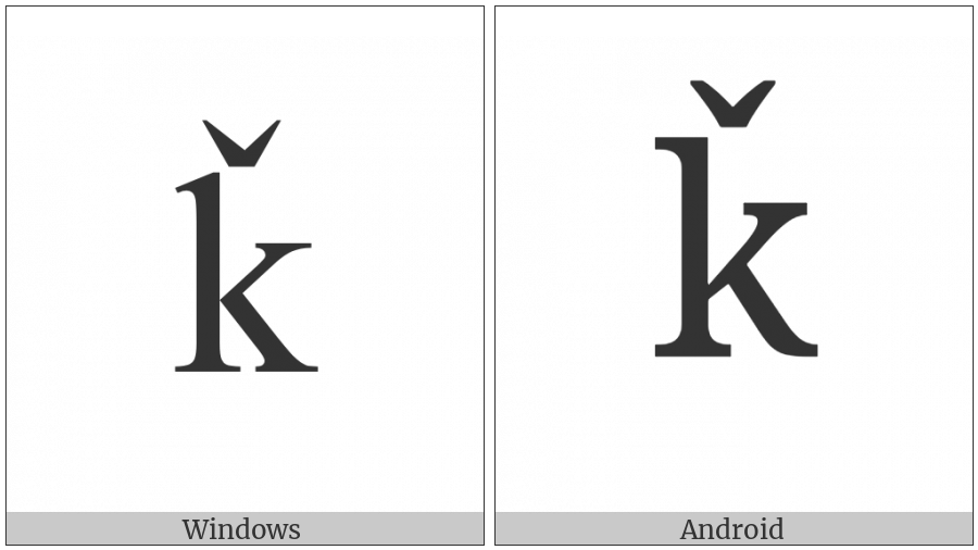 Latin Small Letter K With Caron on various operating systems