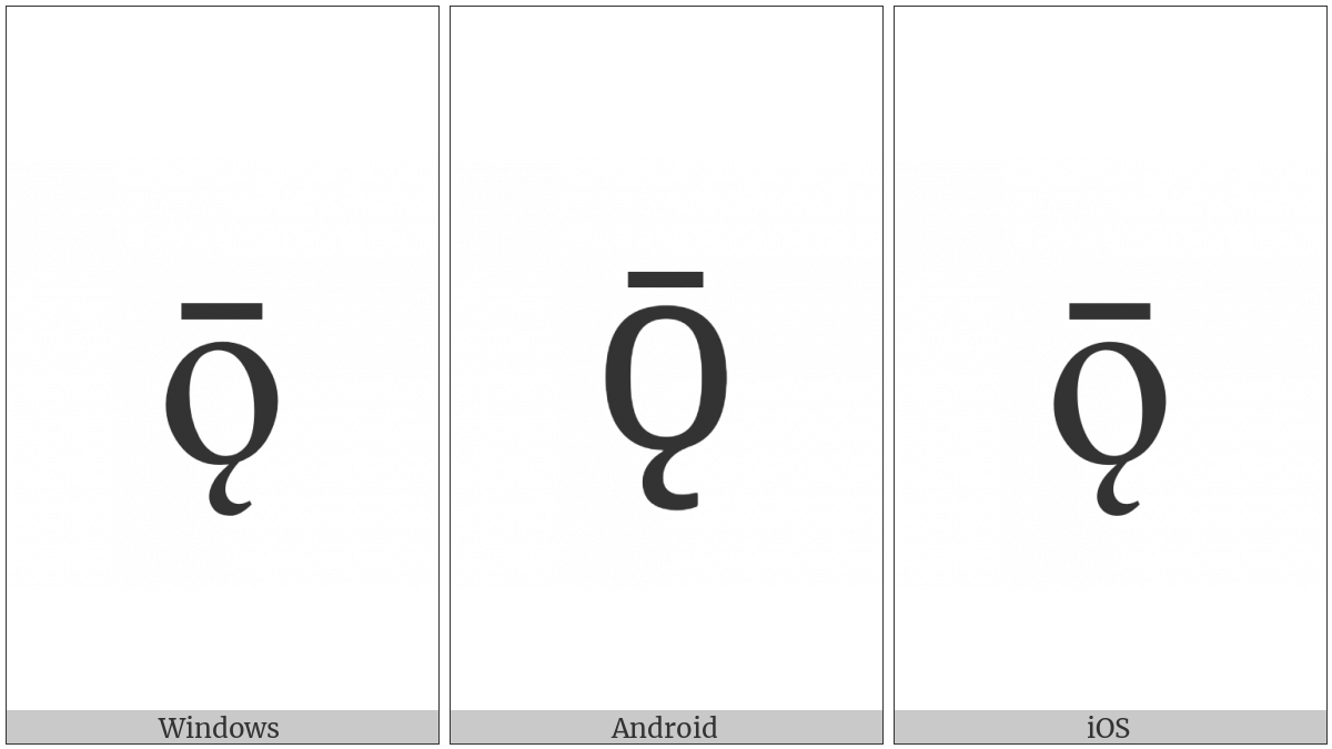 Latin Small Letter O With Ogonek And Macron on various operating systems