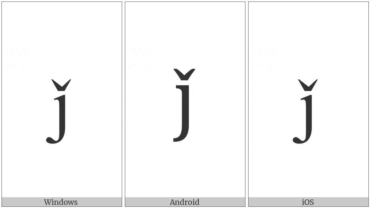 Latin Small Letter J With Caron on various operating systems