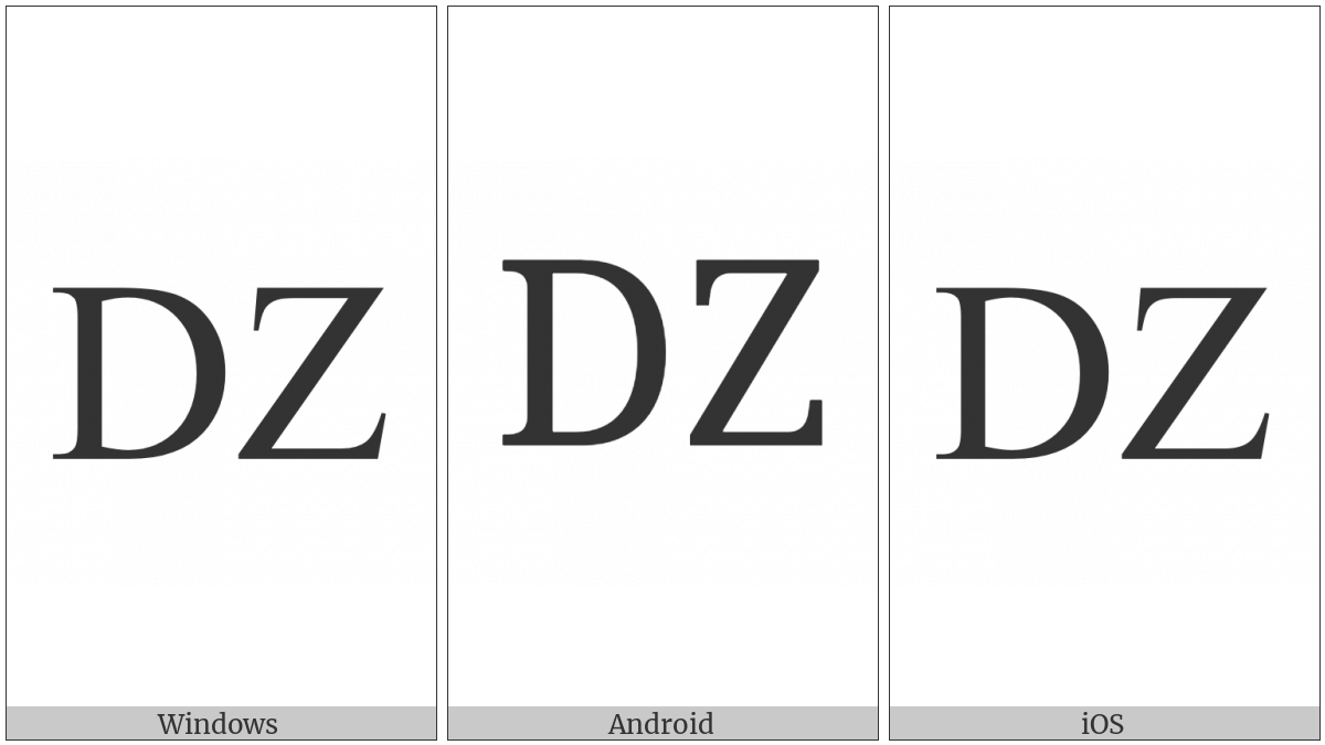 Latin Capital Letter Dz on various operating systems