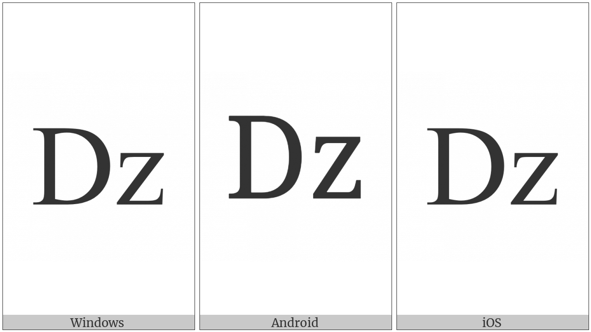 Latin Capital Letter D With Small Letter Z on various operating systems