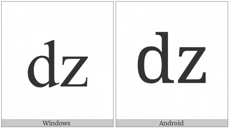 Latin Small Letter Dz on various operating systems