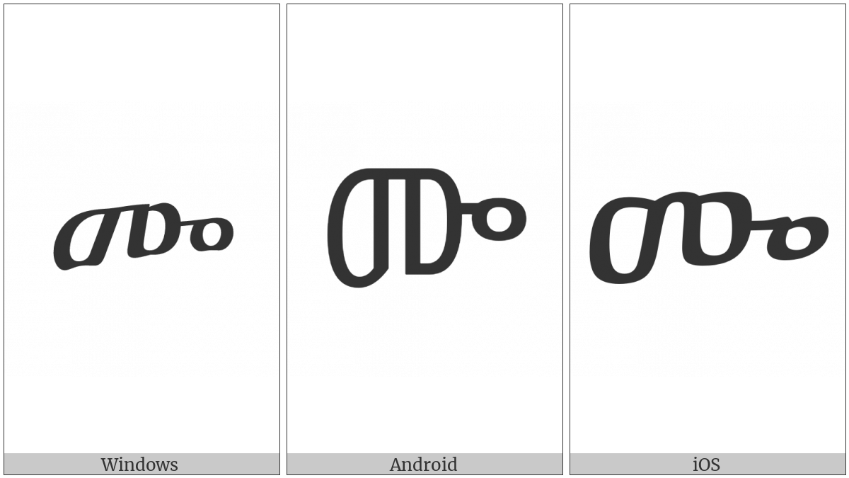 Ethiopic Syllable Sebatbeit Mwa on various operating systems