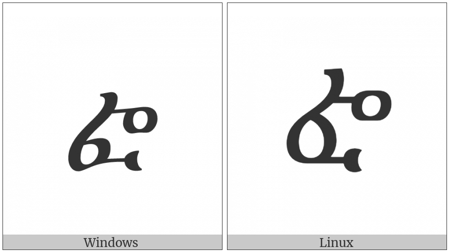 Ethiopic Syllable Sebatbeit Fwa on various operating systems