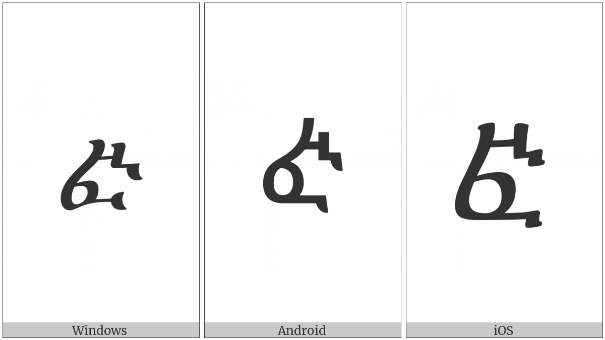 Ethiopic Syllable Fwi on various operating systems