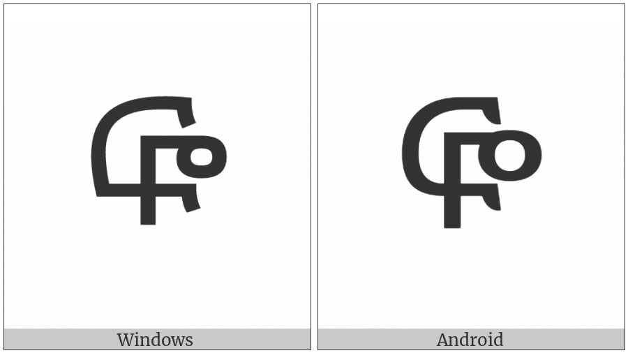 Ethiopic Syllable Fwe on various operating systems