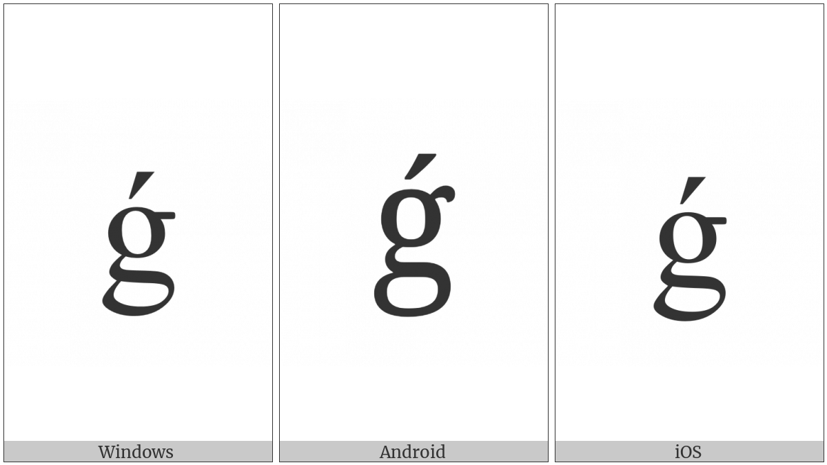 Latin Small Letter G With Acute on various operating systems