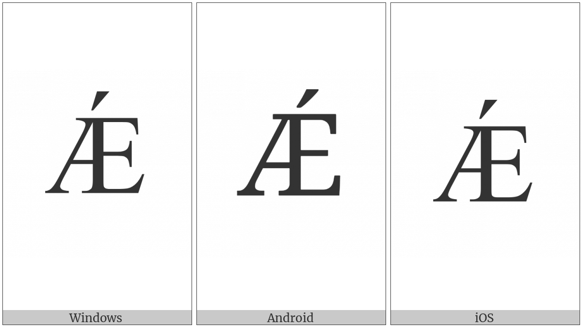 Latin Capital Letter Ae With Acute on various operating systems