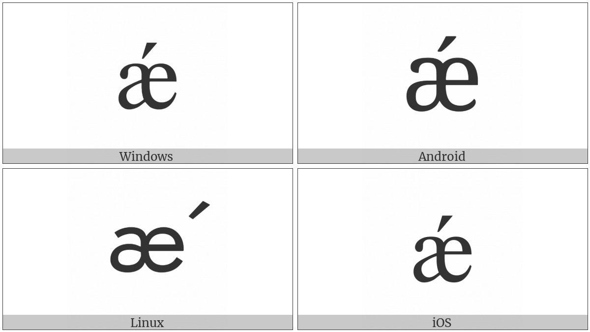 Latin Small Letter Ae With Acute on various operating systems